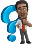 African American male character with a black hair - Vector Illustrations - Questions
