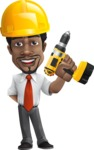 African American male character with a black hair - Vector pack of poses - GraphicMama's Bestseller  - Under Construction2