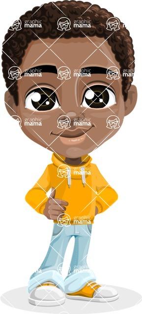 African American School Boy Cartoon Vector Character AKA Jorell - Normal