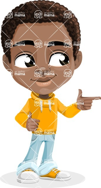 African American School Boy Cartoon Vector Character AKA Jorell - Point 2