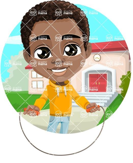 African American School Boy Cartoon Vector Character AKA Jorell - Shape 1