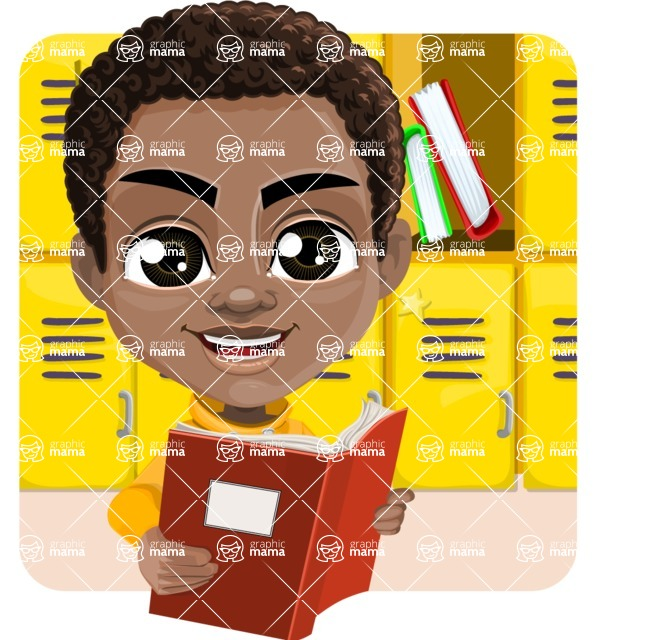 African American School Boy Cartoon Vector Character AKA Jorell - Shape 2