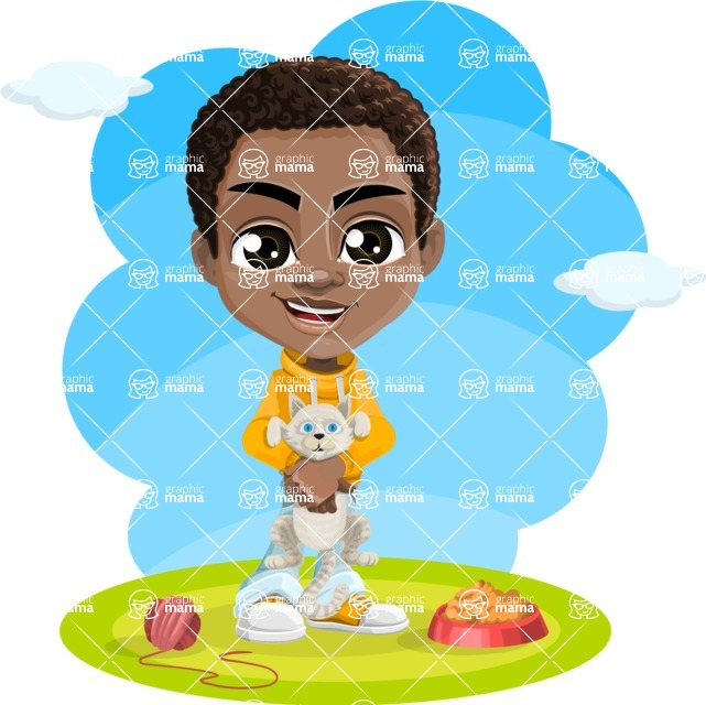 African American School Boy Cartoon Vector Character AKA Jorell - Shape 6