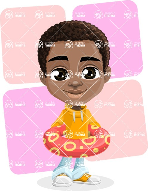 African American School Boy Cartoon Vector Character AKA Jorell - Shape 7