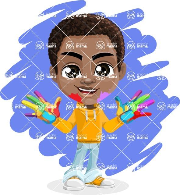 African American School Boy Cartoon Vector Character AKA Jorell - Shape 9