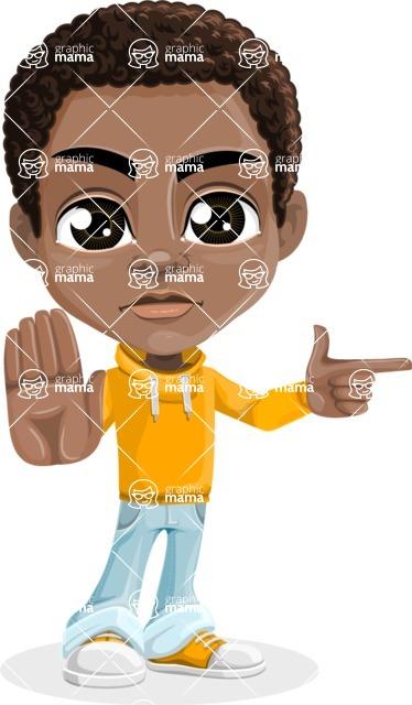 African American School Boy Cartoon Vector Character AKA Jorell - Direct Attention