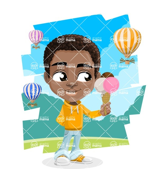 African American School Boy Cartoon Vector Character AKA Jorell - Shape 12