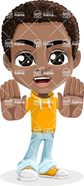 African American School Boy Cartoon Vector Character AKA Jorell - Stop