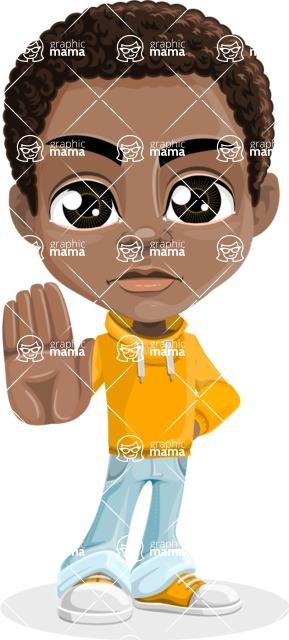 African American School Boy Cartoon Vector Character AKA Jorell - Stop 2