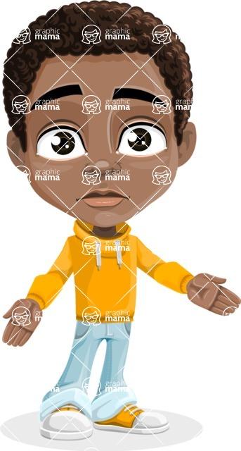 African American School Boy Cartoon Vector Character AKA Jorell - Stunned