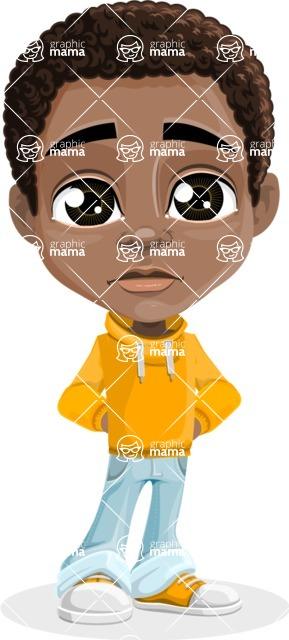 African American School Boy Cartoon Vector Character AKA Jorell - Sad