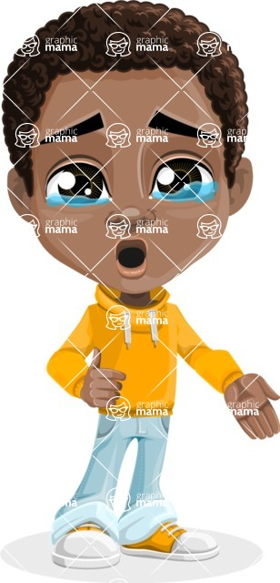 African American School Boy Cartoon Vector Character AKA Jorell - Sad 2