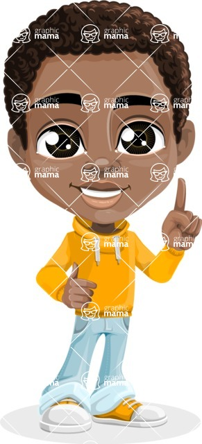 African American School Boy Cartoon Vector Character AKA Jorell - Attention