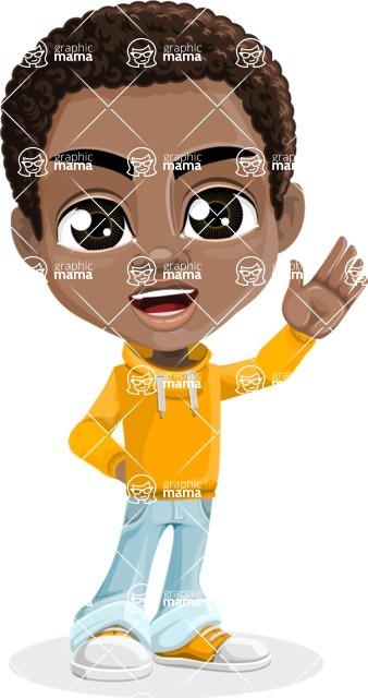 African American School Boy Cartoon Vector Character AKA Jorell - Hello