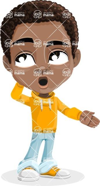 African American School Boy Cartoon Vector Character AKA Jorell - Oops