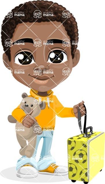 African American School Boy Cartoon Vector Character AKA Jorell - Travel
