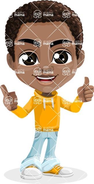 Jorell the Playful African American Boy - Thumbs Up