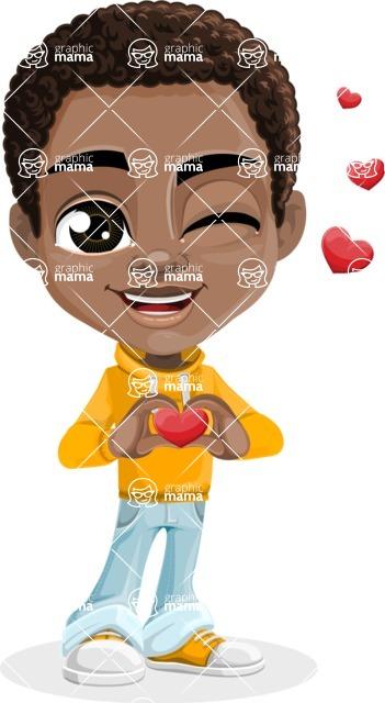 African American School Boy Cartoon Vector Character AKA Jorell - Show Love