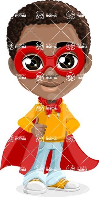 African American School Boy Cartoon Vector Character AKA Jorell - Supergirl