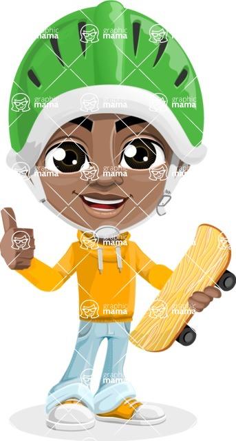 Jorell the Playful African American Boy - Sketeboard