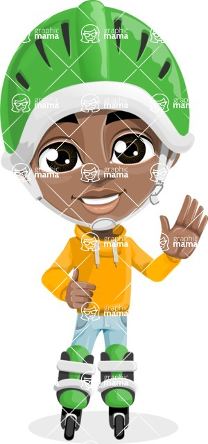 African American School Boy Cartoon Vector Character AKA Jorell - Blades