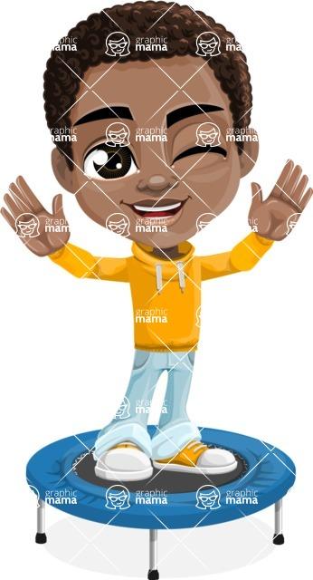 Jorell the Playful African American Boy - Trampoline