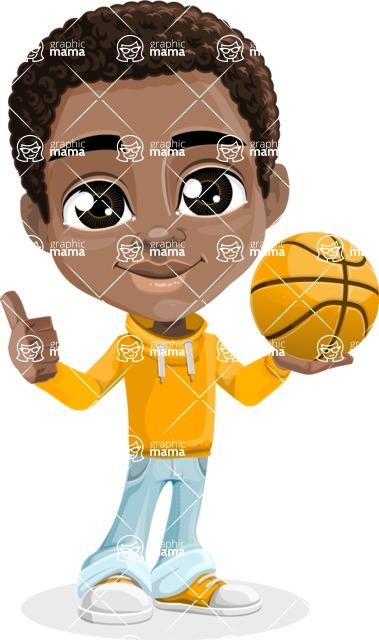 African American School Boy Cartoon Vector Character AKA Jorell - Basketball