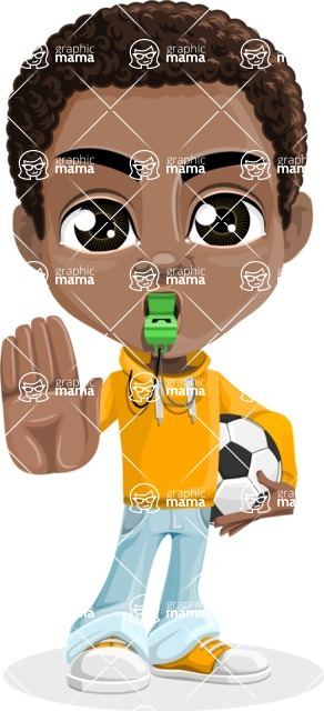 African American School Boy Cartoon Vector Character AKA Jorell - Soccer