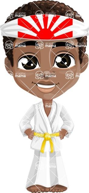 African American School Boy Cartoon Vector Character AKA Jorell - Karate