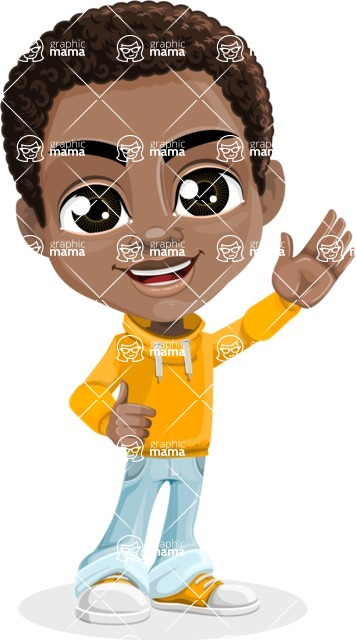 African American School Boy Cartoon Vector Character AKA Jorell - Wave