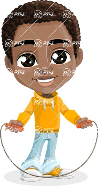 African American School Boy Cartoon Vector Character AKA Jorell - Skipping Rope