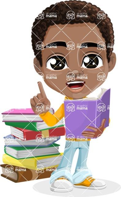 African American School Boy Cartoon Vector Character AKA Jorell - Book