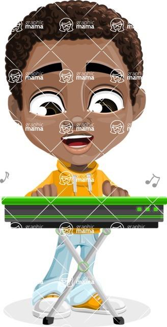 African American School Boy Cartoon Vector Character AKA Jorell - Music 1