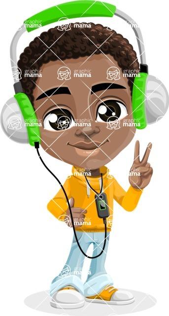 African American School Boy Cartoon Vector Character AKA Jorell - Music 3
