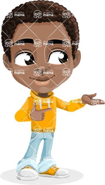 African American School Boy Cartoon Vector Character AKA Jorell - Showcase 1