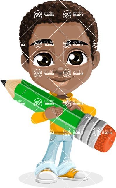 African American School Boy Cartoon Vector Character AKA Jorell - Pencil