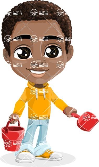 African American School Boy Cartoon Vector Character AKA Jorell - Beach 3