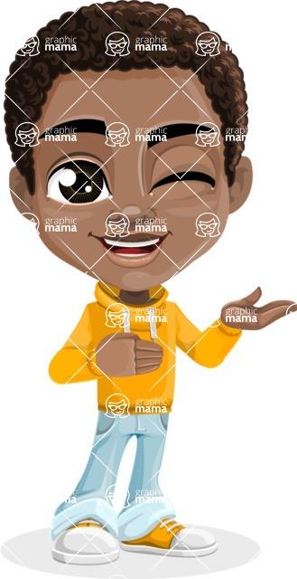 African American School Boy Cartoon Vector Character AKA Jorell - Showcase 2