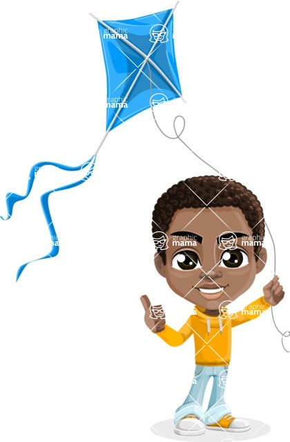 African American School Boy Cartoon Vector Character AKA Jorell - Kite
