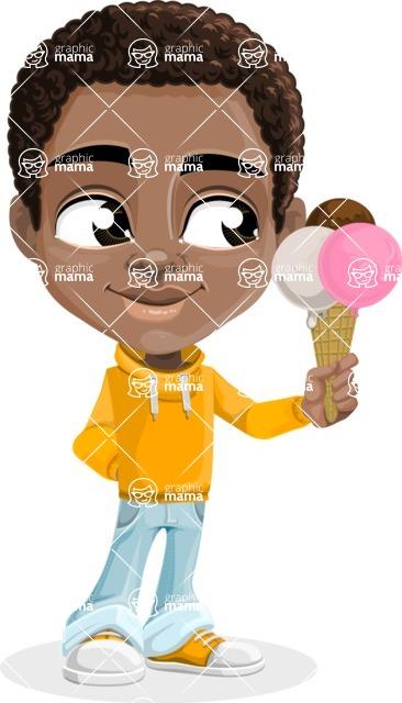 African American School Boy Cartoon Vector Character AKA Jorell - Ice Cream