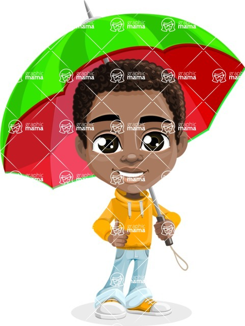 African American School Boy Cartoon Vector Character AKA Jorell - Umbrella