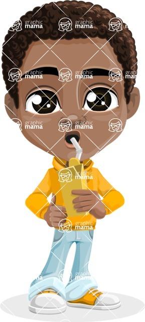 African American School Boy Cartoon Vector Character AKA Jorell - Shake