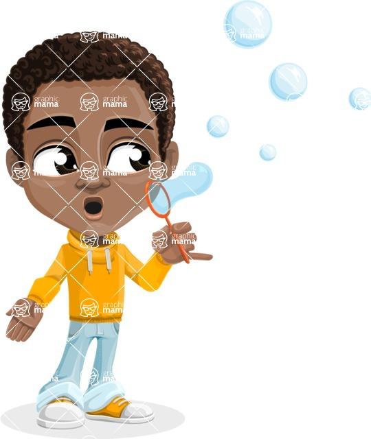 African American School Boy Cartoon Vector Character AKA Jorell - Soap Bubbles