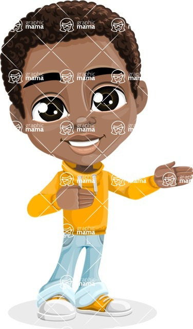 African American School Boy Cartoon Vector Character AKA Jorell - Show 1