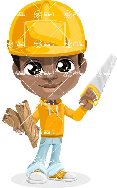 African American School Boy Cartoon Vector Character AKA Jorell - Under Construction
