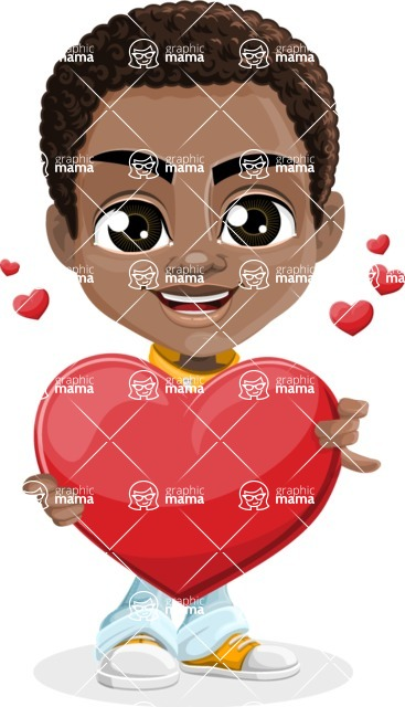 African American School Boy Cartoon Vector Character AKA Jorell - Love