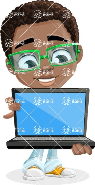 African American School Boy Cartoon Vector Character AKA Jorell - Laptop 1