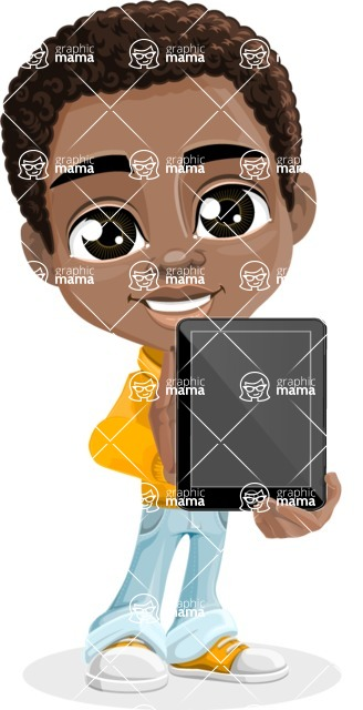 African American School Boy Cartoon Vector Character AKA Jorell - Tablet 1