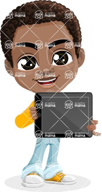 African American School Boy Cartoon Vector Character AKA Jorell - Tablet 2
