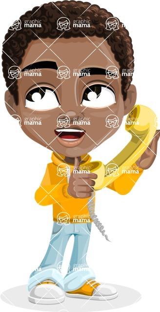 African American School Boy Cartoon Vector Character AKA Jorell - Homeline